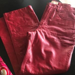Red Leather Pants size 12
